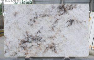 """Crystallo / Crystal White Polished Quartzite 3cm (75"""" x 122"""") Group EXOTIC #38165"""